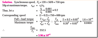 induction motor starting torque and maximum torque