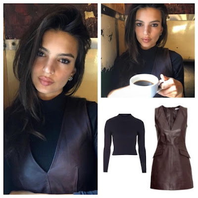 Emily Ratajkowski Emrata Instagram at Marlow and Sons wearing Topshop black ribbed high neck and H&M dark brown leather dress