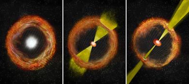 ilustração de uma supernova de colapso de núcleo comum