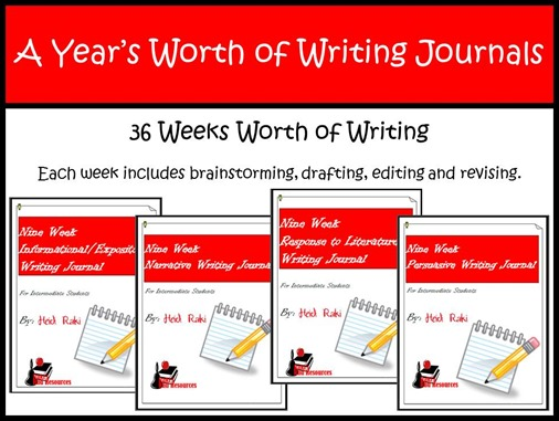A Year's Worth of Writing Journals - narrative, informational, persuasive and response to literature writing journals for intermediate grades - 3rd grade, 4th grade, 5th grade
