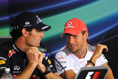 Марк Уэббер и Дженсон Баттон на пресс-конференции в четверг на Гран-при Канады 2012