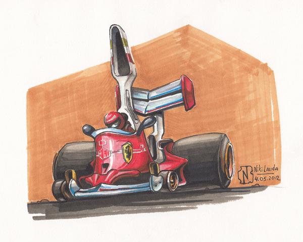 Ники Лауда Ferrari 70-х - карикатура Nitrouzzz