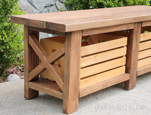 Wooden x leg outdoor bench