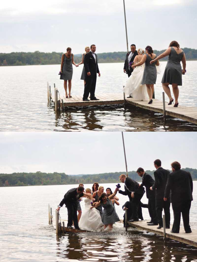 Bridal Party sank into a lake