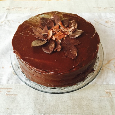 Chocolate and arctic cloudberry layer cake