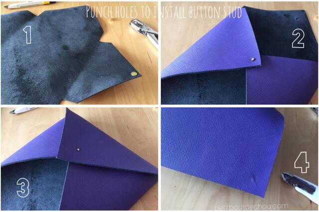 punch holes button stud leather pouch purple