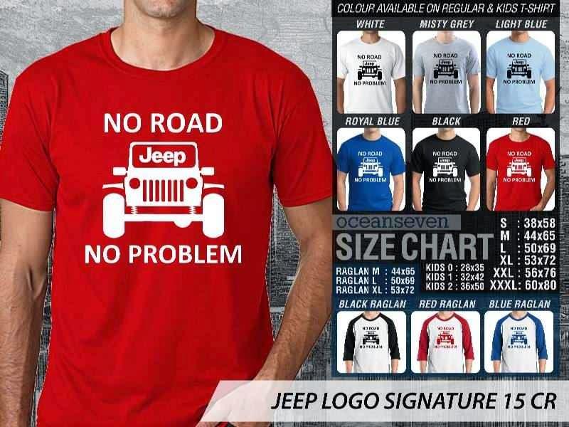jual kaos jeep Logo Signature 15 No Road No Problem distro