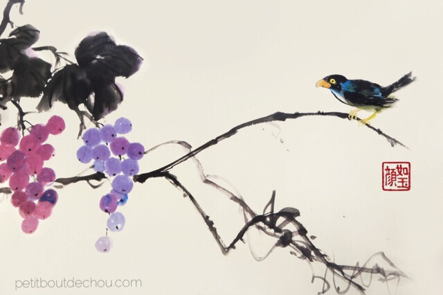 chinese painting grapes and bird