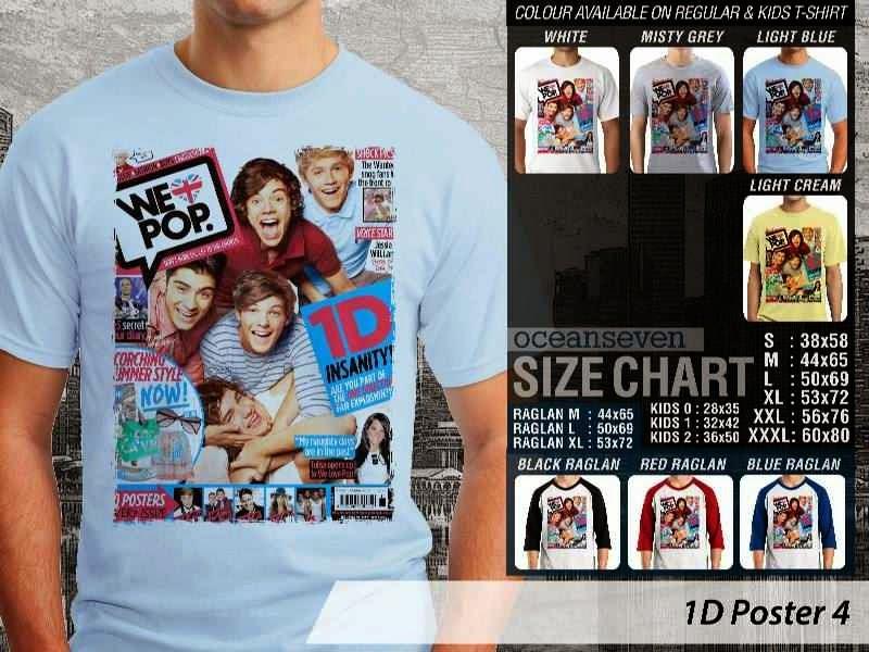 Jual kaos 1D One Direction 4 Musik Boy Band