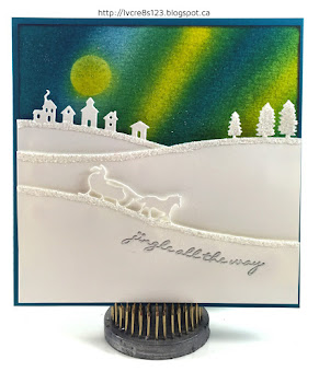 Linda Vich Creates: Tag Exchange and December Stamp Class. A dazzling aurora borealis sky serves as the backdrop to this Sleigh Ride Thinlits winter scene.