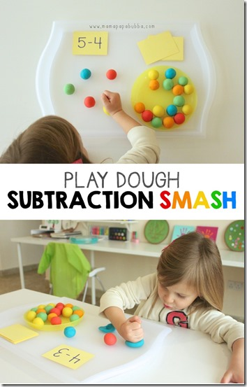 Playdough Subtraction Activity For Kids