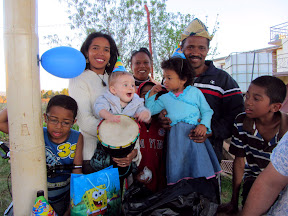 Matimu with our language teacher, Fanja, and her family as well as a fellow YWAMer from Mauritius, Daniella. They gave him a drum for his birthday and he loved it!