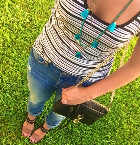 how to wear boyfriend jeans, rebecca minkoff, tassel necklace