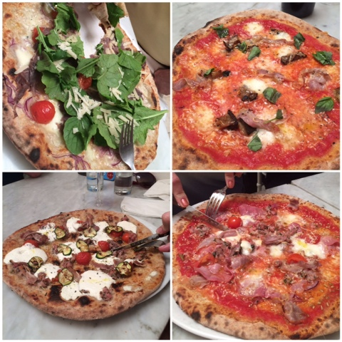 4 different pizza's at Margo's