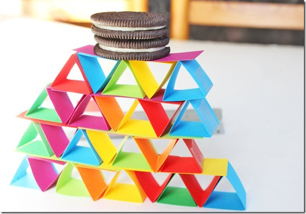 Building with Paper Shapes STEM Activity - Fun, hands on learning idea for preschool, kindergarten, 1st grade, 2nd grade, 3rd grade and more for homeschool, summer school, after school.