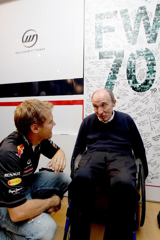 Фрэнк Уильямс и Себастьян Феттель на праздновании 70-летия на Гран-при Испании 2012