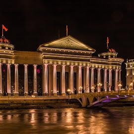 by Mario Horvat - City,  Street & Park  Night ( skopje, museum, night, macedonia, river, long exposure, building,  )
