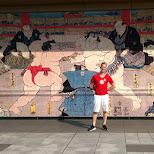 outside art on the Ryogoku Kokugikan sumo ring in Tokyo in Tokyo, Tokyo, Japan
