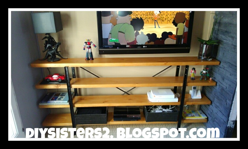 diy sisters meuble tv type industriel. Black Bedroom Furniture Sets. Home Design Ideas