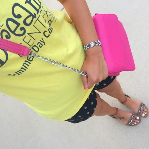 pineapple shorts, jeweled sandals, pink crossbody bag, preppy style, j. crew factory