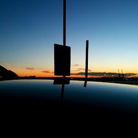 Sunset at the parking lot. by Hassan Nooh - Instagram & Mobile Android ( reflection, smooth, serenity, sunset, gradient )