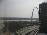 The view of the St Louis Arch outside of our hotel room window 03192011b