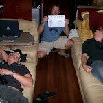 "Tony & Jordan decided to pass out on our bus...Taking up the whole couch is known as ""Pulling a Rick Lambert"", from the days when he used to live on the bus."