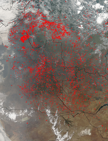 Satellite of fires in southwestern Africa, 27 August 2015. Photo: NASA / Aqua / MODIS