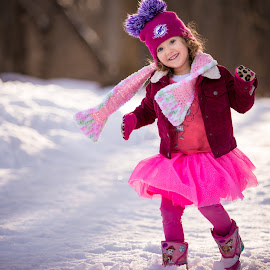 Snow Style by Mike DeMicco - Babies & Children Child Portraits ( silly playing, cute, love, child, sweet, girl, winter, style, happy, snow, pink, adorable, smile )