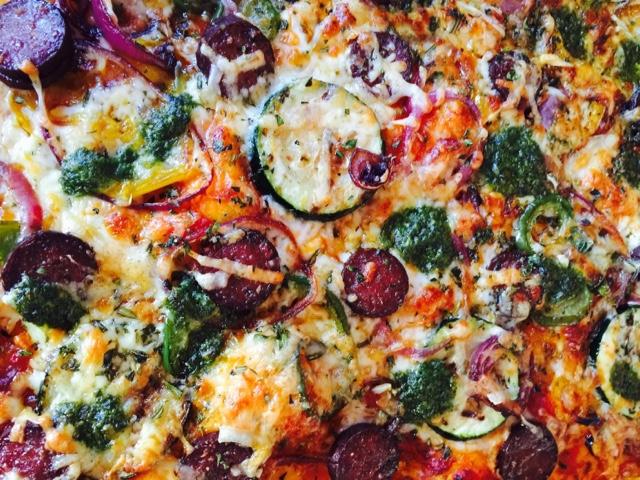 Moose salami, vegetable and four cheese pizza