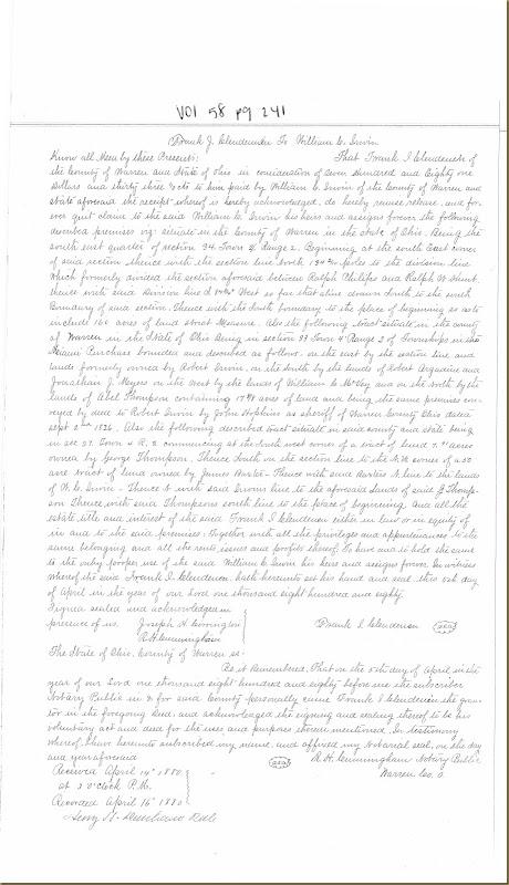 Frank J. Clendenen sold to William Cox Irwin 5 April 1880