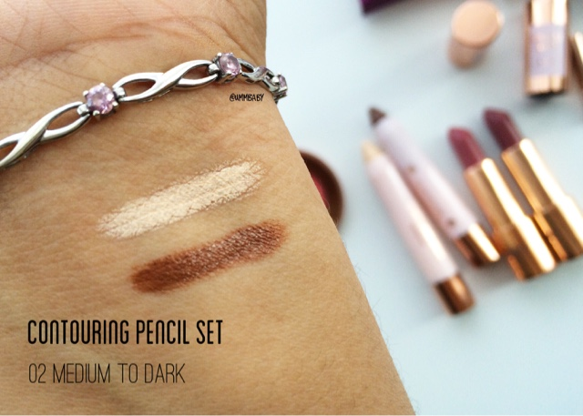 Swatches of kiko contouring pencil and highlighting pencil on medium/tan/NC40 skin