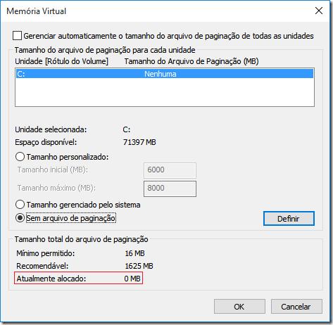 Verifique se a memória virtual realmente foi alterada de acordo com a informação em Atualmente alocado