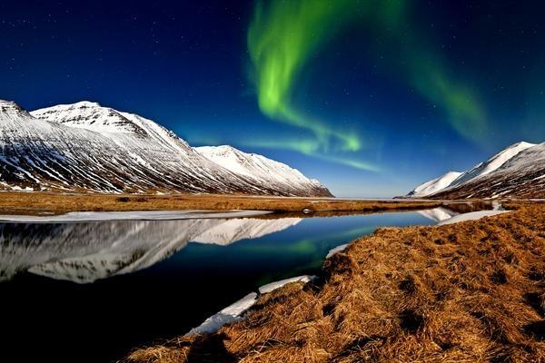 Aurora Borealis at Hedinsfjordur, Iceland