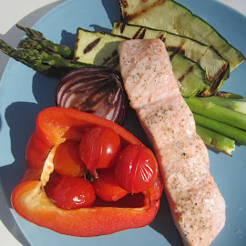 Grilled Salmon with Veggies by Viive Selg - Food & Drink Plated Food