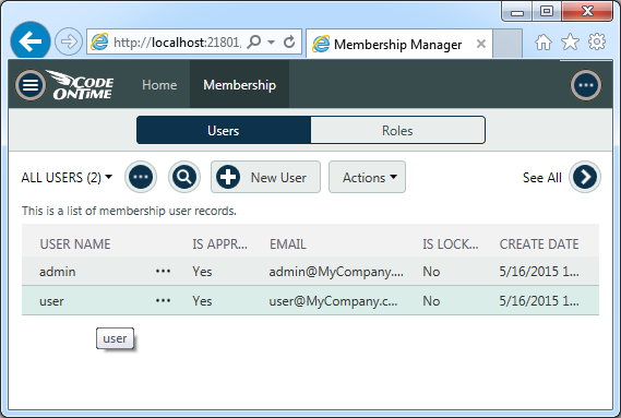 User and role management screen in a line-of-business app created with Code On Time.