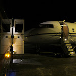 It's not your average late flight out.  Yes, we pulled the tour bus up to a private jet...awesome!