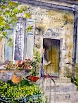 Bienvenue chez Michèle , aquarelle, 14 x 11 po.