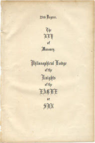 Cover of Henry Andrew Francken's Book The Key Of Masonry Philosophical Lodge Of The Knights Of The Eagle Or Sun
