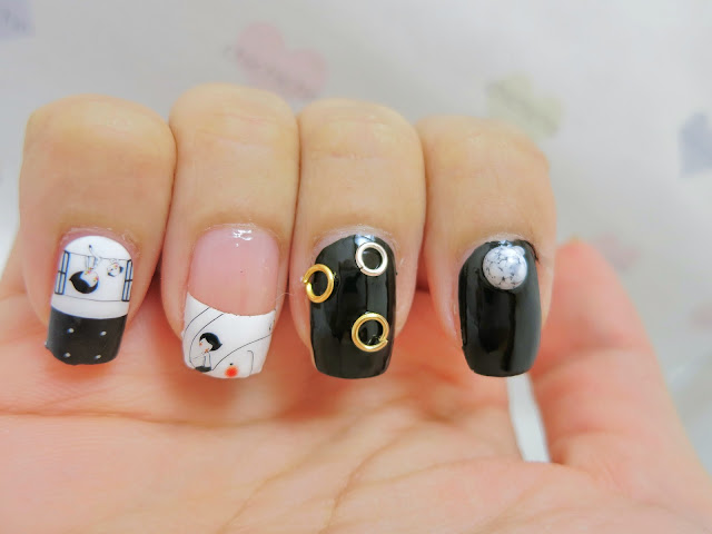 Black and White Elephant and Dog Nail Art Nail Wrap MDS1033