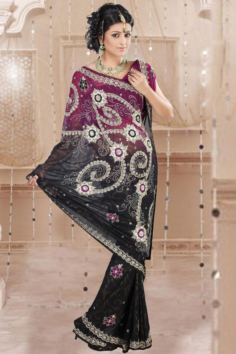 Magenta and Black Ghena and Shimmer Embroidered Saree   320.00