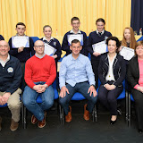 Students who took part in the Big Brother/ Big Sister Mentoring Programe at the Mulroy College Junior Prize Giving with seated Paddy Hannigan, Finian McClafferty, Shaun McFadden, Fiona Temple and Catherine McHugh.   Photo:- Clive Wasson