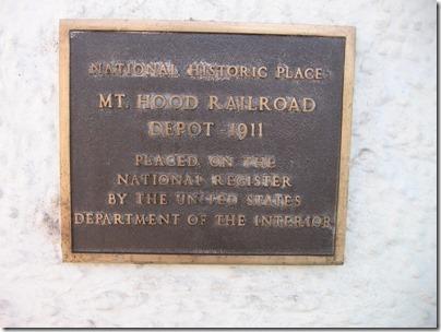 IMG_6631 Mount Hood Railroad Depot Plaque in Hood River, Oregon on June 10, 2009