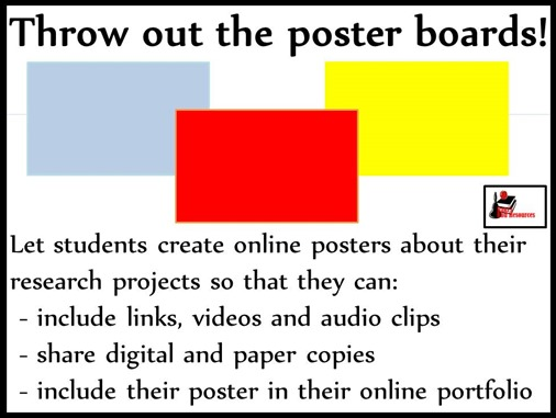 Throw out the poster boards! - Use online posters instead - great for research project, persuasive writing and almost any science or social studies topics - ideas and website suggestions from Raki's Rad Resources.