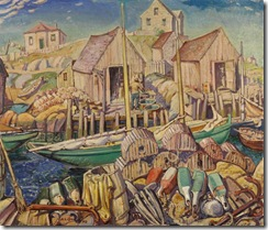 Nova_Scotia_Fishing_Village_by_Artist_Arthur_Lismer_Group_of_Seven_Painter