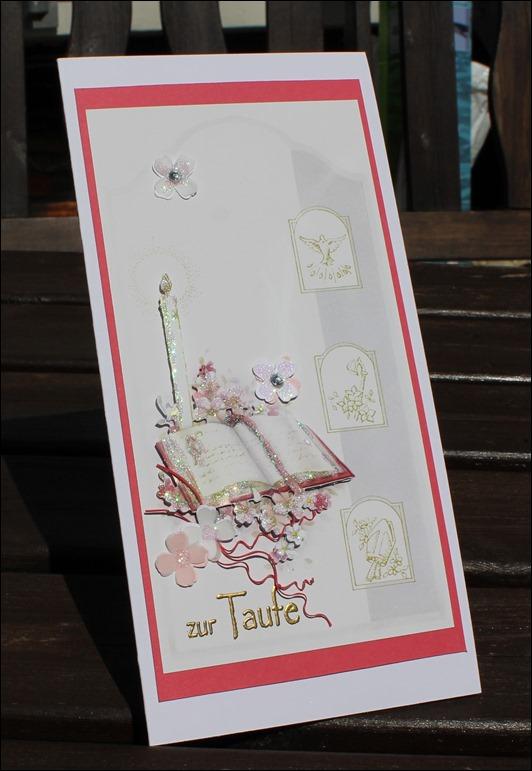 Taufkarte Mädchen rosa Kreuz 01