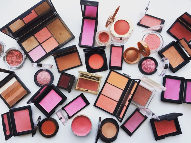 Collection of bright, bold and colourful blushes displayed beautifully