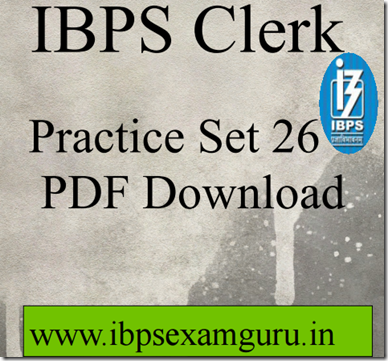 IBPS Clerk Preliminary Question paper PDF Set26