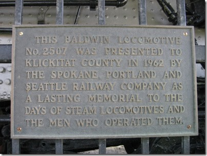 IMG_7816 Great Northern Class P-2 Baldwin 4-8-2 #2507 Plaque in Wishram, Washington on July 3, 2009