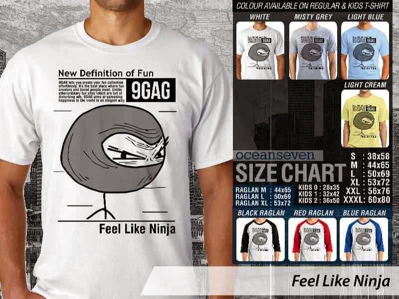 Jual Kaos 9Gag Lucu Meme Feel Like Ninja distro ocean seven